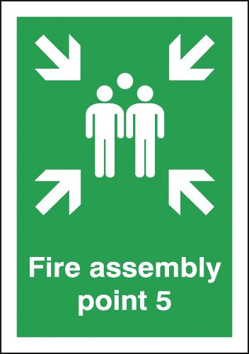 A5 fire assembly point 5 self adhesive vinyl labels.