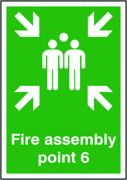 A5 fire assembly point 6 self adhesive vinyl labels.