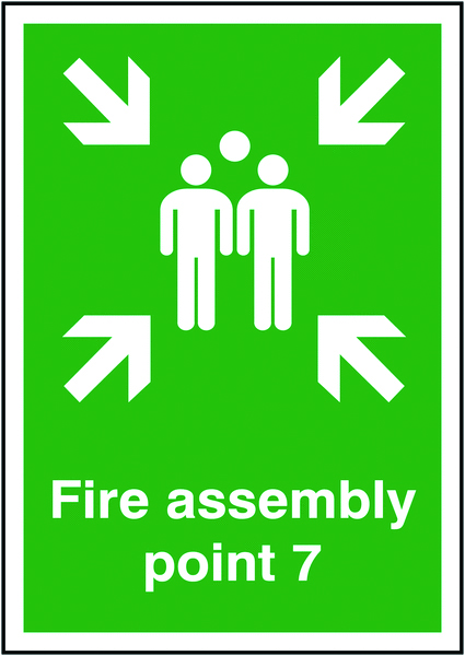A5 fire assembly point 7 self adhesive vinyl labels.