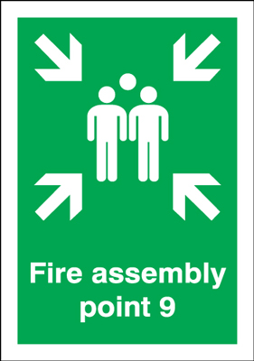 A5 fire assembly point 9 1.2 mm rigid plastic signs with self adhesive backing.