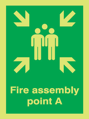 400 x 300 mm NG fire assembly point a nite glo self adhesive class B