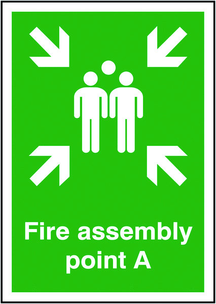 A5 fire assembly point a self adhesive vinyl labels.