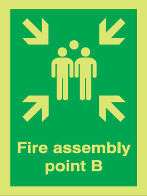 400 x 300 mm NG fire assembly point b nite glo self adhesive class B