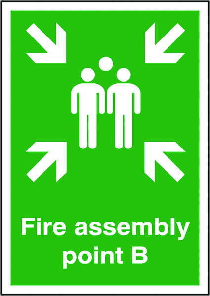 A5 fire assembly point b self adhesive vinyl labels.