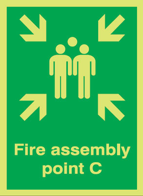 400 x 300 mm NG fire assembly point c nite glo self adhesive class B