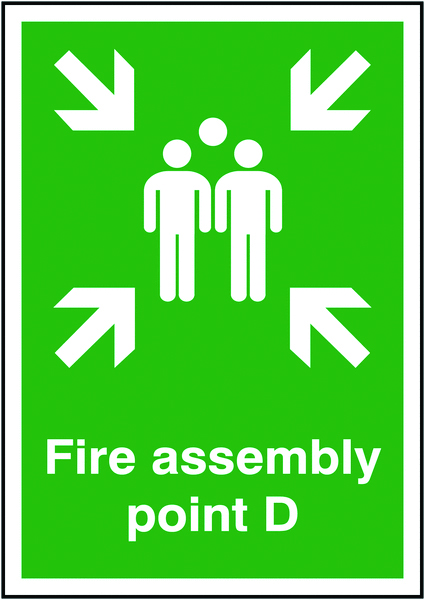 A4 fire assembly point d 1.2 mm rigid plastic signs with self adhesive backing.