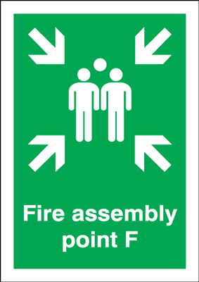 A5 fire assembly point f self adhesive vinyl labels.
