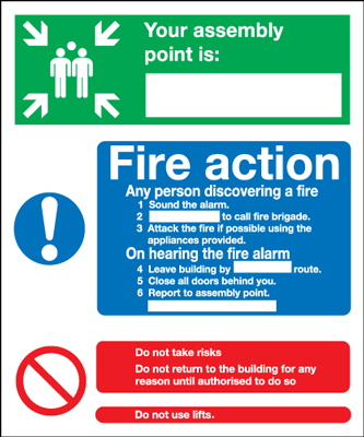 300 x 250 mm fire assembly point map 1.2 mm rigid plastic signs with self adhesive backing.