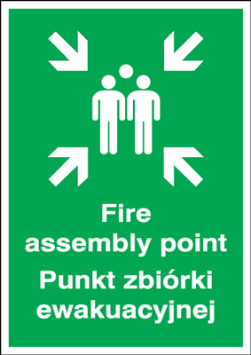 600 x 450 mm fire assembly point punkt 1.2 mm rigid plastic signs with self adhesive backing.