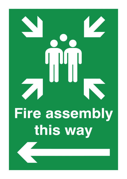 A5 fire assembly this way arrow left 1.2 mm rigid plastic signs with self adhesive backing.