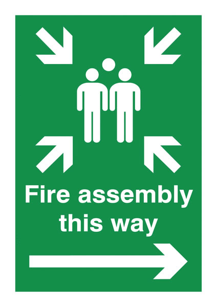 A4 fire assembly this way arrow right self adhesive vinyl labels.