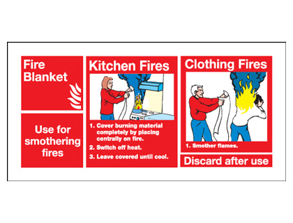 50 x 100 mm fire blanket use for smothering self adhesive vinyl labels.
