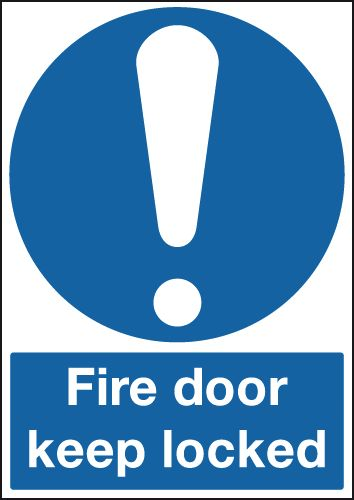 UK mandatory signs - 100 x 75 mm fire door keep locked 1.2 mm rigid plastic signs with self adhesive backing.