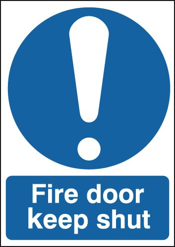 150 x 50 fire door keep shut 1.2 mm rigid plastic signs with self adhesive backing.