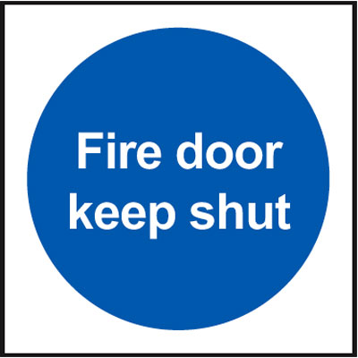 Fire escape signs - A5 fire escape keep clear self adhesive vinyl labels.