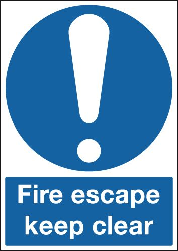 A5 fire escape keep clear 1.2 mm rigid plastic signs with self adhesive backing.