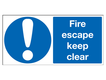 100 x 250 mm fire escape keep clear 1.2 mm rigid plastic signs.