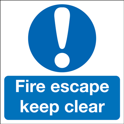 100 x 100 mm fire escape keep clear 1.2 mm rigid plastic signs with self adhesive backing.
