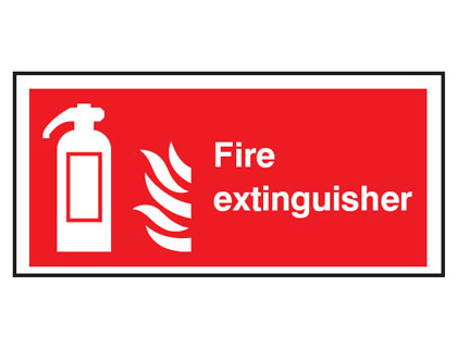 100 x 200 mm fire extinguisher symbol & flame t bar foamed plastic 3 mm