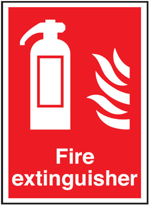 300 x 250 mm fire extinguisher symbol & flame self extinguishing rigid plastic