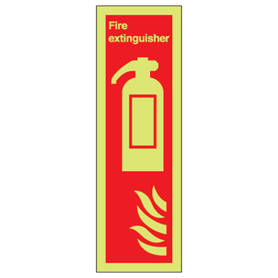 UK fire signs - 280 x 90 fire extinguisher (symbol & flame 1 mm durable aluminium