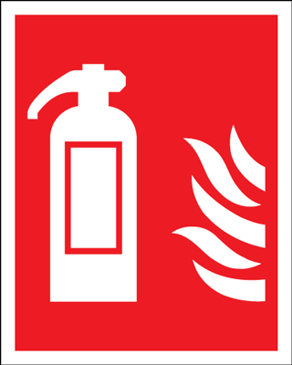 280 x 90 fire extinguisher symbol & flame 1.2 mm rigid plastic signs.