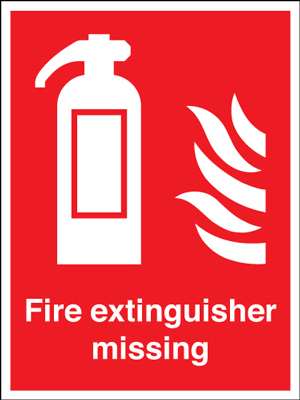 400 x 300 mm fire extinguisher symbol & flame self adhesive vinyl labels.