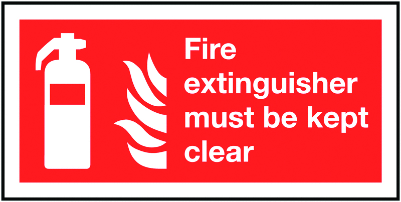 100 x 200 mm fire extinguisher symbol & flame self adhesive vinyl labels.