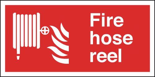150 x 300 mm fire hose reel self adhesive vinyl labels.