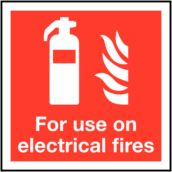 200 x 200 mm for use on electrical fires deluxe high gloss rigid plastic 1 mm sign