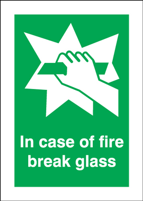 70 x 50 NG in case of fire break glass self adhesive nite-glo
