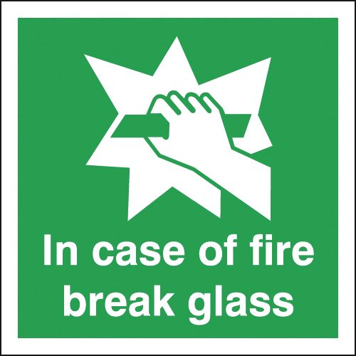 200 x 200 mm NG in case of fire break glass nite glo self adhesive class B