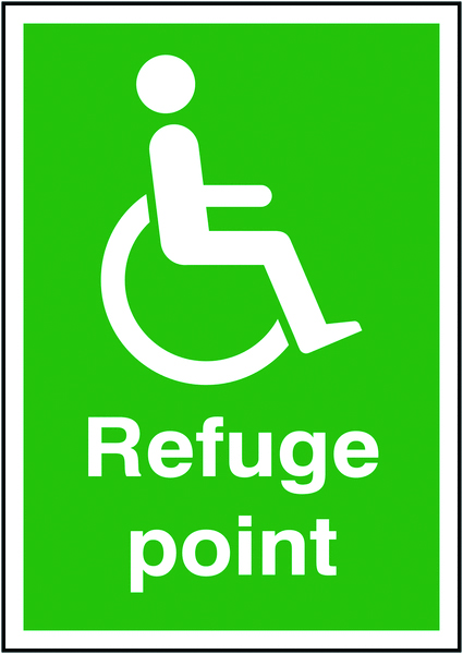 A5 refuge point 1.2 mm rigid plastic signs with self adhesive backing.