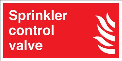 200 x 400 mm sprinkler control valve self adhesive vinyl labels.
