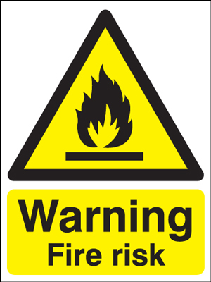 UK warning signs - 400 x 300 mm warning fire risk self adhesive vinyl labels.