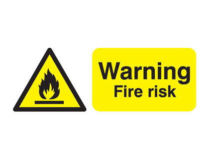 100 x 250 mm warning fire risk self adhesive label.