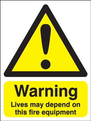 UK warning signs - 100 x 75 mm warning lives may depend on this self adhesive vinyl labels.