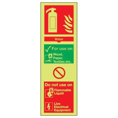 UK water signs - 280 x 90 water extinguisher for use on do 1 mm durable aluminium