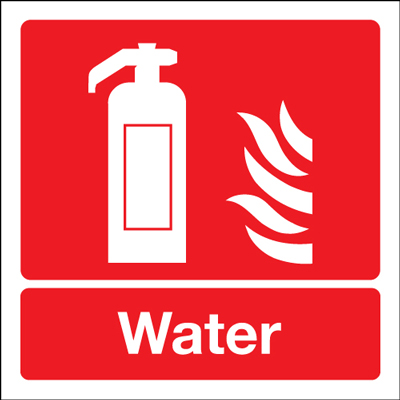 100 x 200 mm water extinguisher for use on 1.2 mm rigid plastic signs with self adhesive backing.