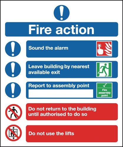UK mandatory signs - 300 x 250 mm fire action (symbolised) self adhesive vinyl labels.