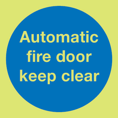 100 x 100 mm NG automatic fire door keep nite glo self adhesive class B