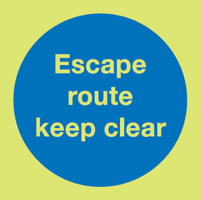 UK fire escape signs - 150 x 150 mm NG escape route keep clear nite glo self adhesive class B