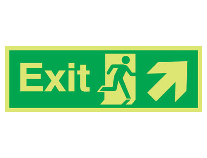 UK fire escape signs - 150 x 300 mm NG exit arrow diagonal up right nite glo self adhesive class B