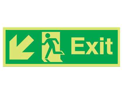 UK fire escape signs - 150 x 300 mm NG exit arrow diagonal left down nite glo self adhesive class B