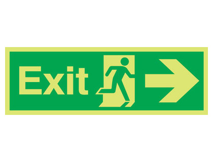 150 x 450 mm NG exit arrow right nite glo self adhesive class B