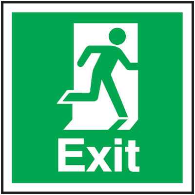 Fire exit signs - 150 x 150 mm exit man right 1.2 mm rigid plastic signs with self adhesive backing.