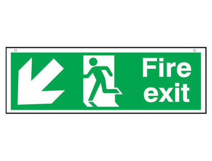 150 x 450 mm fire exit man arrow down left 3 mm foam board signs.