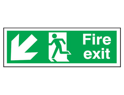 UK Fire Exit Signs - 150 x 450 mm fire exit man arrow down left t bar foamed plastic 3 mm