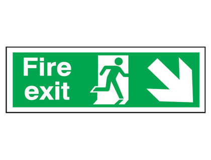 UK Fire Exit Signs - 150 x 450 mm fire exit man arrow down right t bar foamed plastic 3 mm