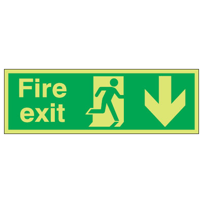 UK Fire Exit Signs - 150 x 450 mm fire exit (running man & arrow d 1 mm durable aluminium